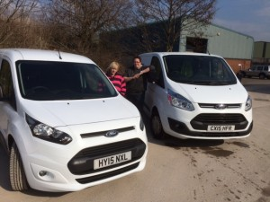 Lesley and Emma are pleased to take delivery of their new vans.