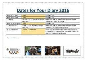 Dates for Your Diary 2016